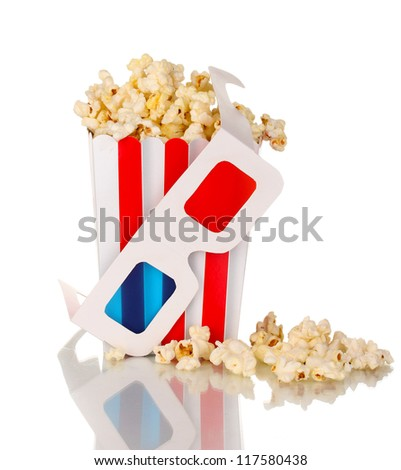 popcorn and glasses isolated on white
