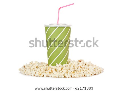 Popcorn and soda on white background. Shallow depth of field