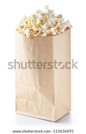 Popcorn bag on white background