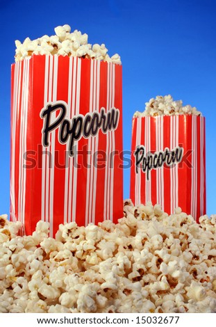 Popcorn bags on blue background