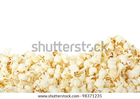 Popcorn border isolated on white, clipping path included