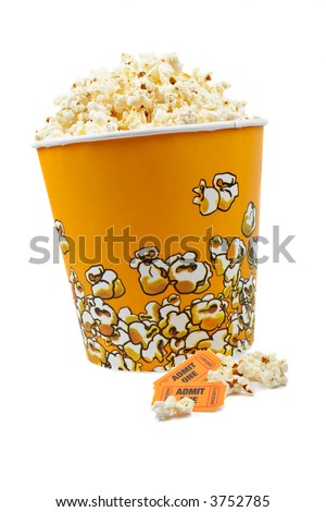 Popcorn bucket with two tickets on white background