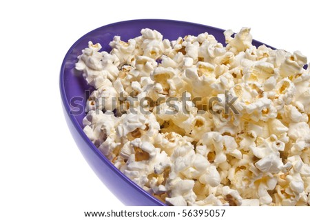 Popcorn Close Up Border Image.  Isolated on White with a Clipping Path.