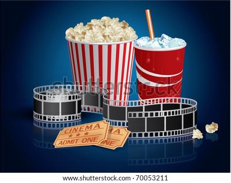 Popcorn, drink and filmstrip