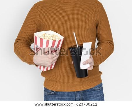 Stock Photo Popcorn Drinks Soda Movie Ticket Theater Leisure Activity