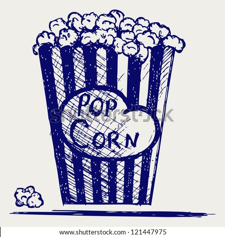 Popcorn exploding inside the packaging. Doodle style. Raster version