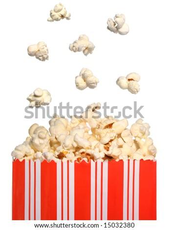 Popcorn falling in a bag