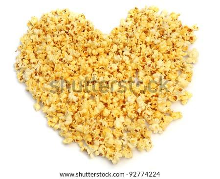 Popcorn heart. - stock photo