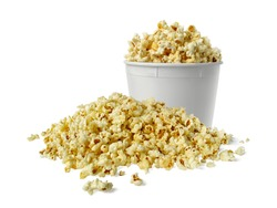 popcorn in a cup isolated on white background