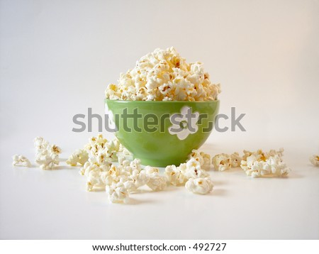 popcorn in a green bowl.
