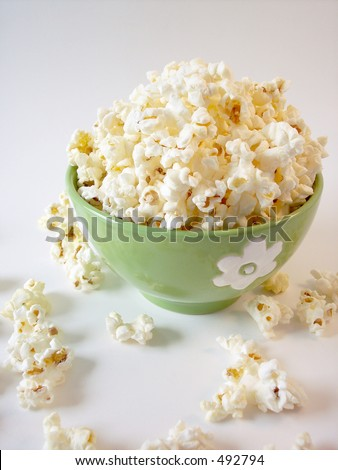 Popcorn in a green bowl
