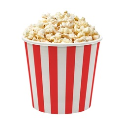 Popcorn in red and white striped cardboard bucket isolated on white background