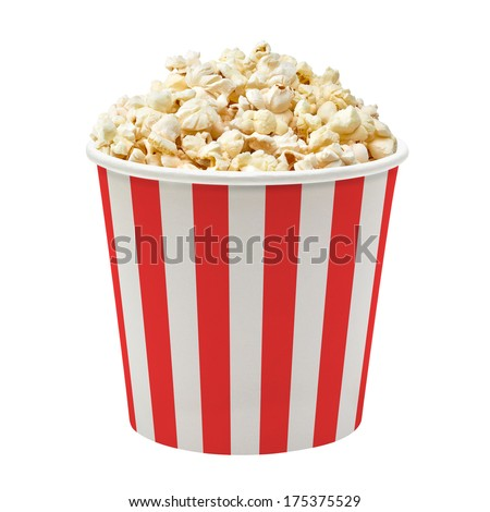 Popcorn in red and white striped cardboard bucket isolated on white background Foto stock ©
