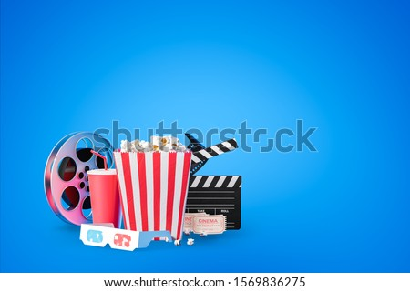 Popcorn in striped bag, movie clapper board, cinema ticket, film reel, fizzy drink and 3d glasses over blue background. Concept of entertainment. 3d rendering mock up