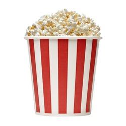 Popcorn in striped bucket on white background