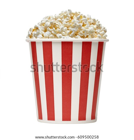 Popcorn in striped bucket on white background\n\n