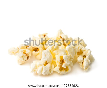 popcorn isolated on a white background - stock photo