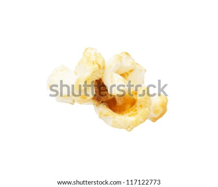 popcorn on a white background. macro