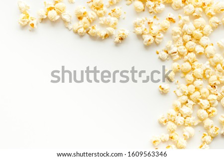 popcorn on background,  popcorn scattered. Mockup popcorn, Frame popcorn.