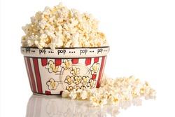 Popcorn, studio isolated on white.