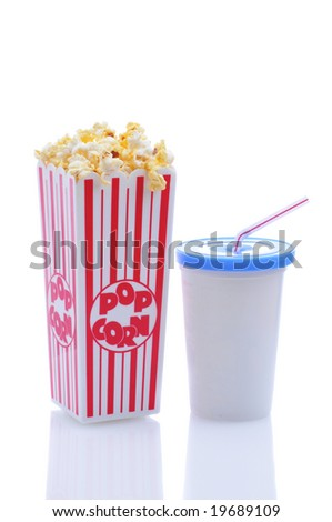Popcorn with cup of soda and straw isolated over white with reflections