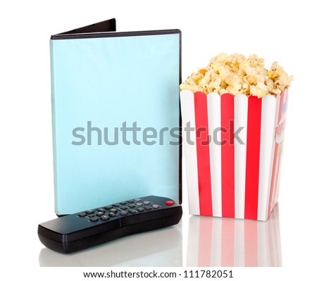 popcorn with TV control panel and disk isolated on white