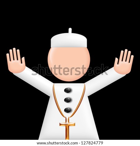 Pope 3d pictogram puppet. Illustration for Newspapers, Magazines or Internet