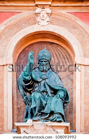 Pope Gregory XIII statue on Accursio Palace main facade. Bologna, Italy