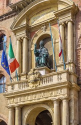 Pope Gregory XIII statue on the building Palazzo Comunale, Bologne, Italy