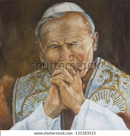 Pope John Paul II praying illustration
