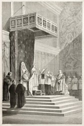 Pope officiating at mass in Sistine Chapel (Pious IX). Created by Neuville after Delaunay, published on Le Tour du Monde, Paris, 1867