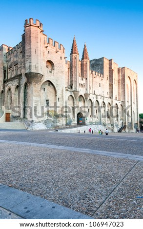 Pope palace in Avignon. Central square with lots of copy space. Provence, Alps, Cote d'Azur, France, Europe.