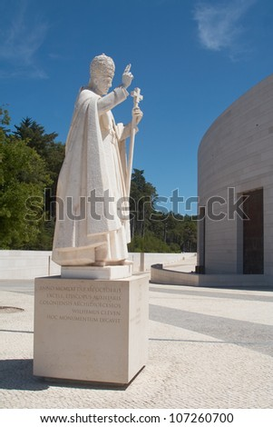 Pope Statue in Fatima Sanctuary in Portugal