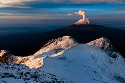 Popocatépetl volcano seen from the Iztaccíhuatl volcano. -The smoking mountain-, the second highest in Mexico.