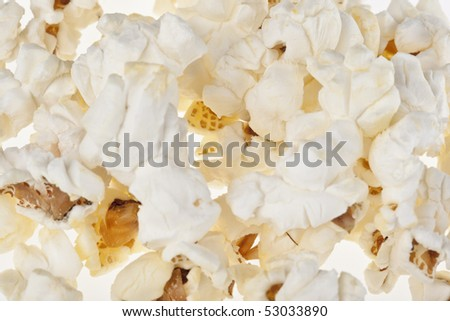 Popped popcorn kernels useful as a  background or texture