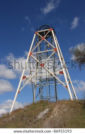 Poppet head (framework) over an abandoned gold mine in Bendigo, Australia.