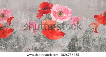 Poppies flowers illustration. Poppies painted on the grunge wall. Beautiful design for postcard, picture, mural, wallpaper, photo wallpaper.