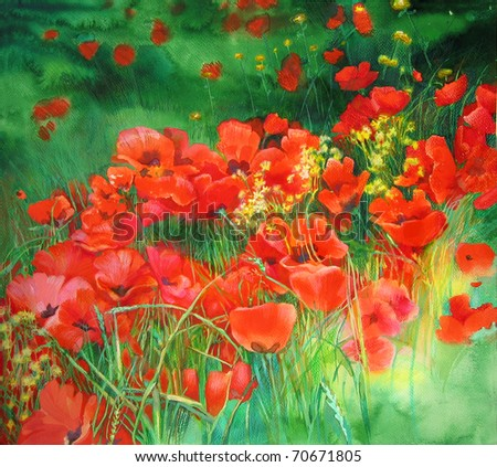 Poppies watercolor drawing - stock photo