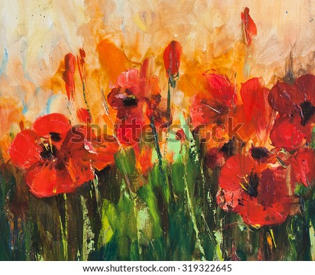 Poppy field, big red flowers. Painting, pictorial art