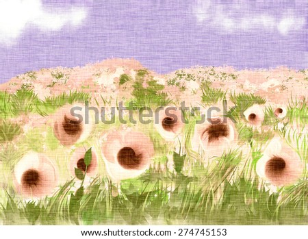 Poppy field. Spring and summer theme. Summer flowers, nature wallpaper. Light textile background, canvas texture.