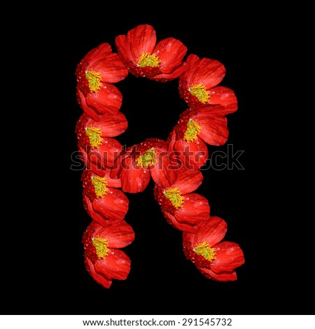 Poppy flowers in the form of an Alphabet -R Stock fotó ©