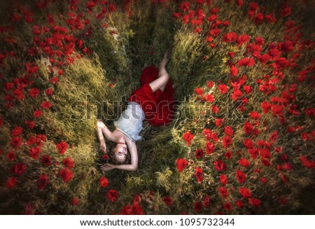 Poppy madness. Curly-haired girl lies on among the poppy field, resting .The view from the top