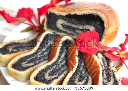poppy pie served on dish with lemon