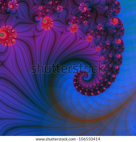 Poppy Row Vortex/Digital abstract image with a spiral flower design in pink, blue and purple.