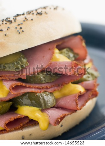 Poppy Seed Bagel with Pastrami Mustard and Gherkins - stock photo