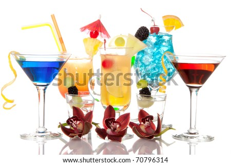 Popular alcoholic cocktails composition. Many cocktail drinks Blue hawaiian, mai tai, tropical  Martini, tequila sunrise, margarita, decorated orchids, cherry, lime, lemon, straw on a white background