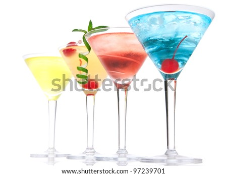 Popular alcoholic cocktails composition. Many cocktail drinks Blue hawaiian, mai tai, tropical Martini, tequila sunrise, margarita cherry, lime, lemon, straw on a white background
