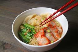 Popular Asian Dish of Roasted Pork Wonton Dumpling and Egg Noodle Soup with Vegetables