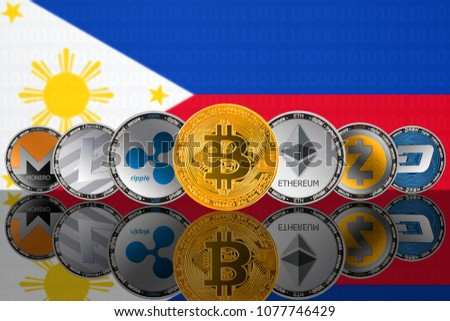 Popular cryptocurrency coins on the background of the flag of Philippines. Bitcoin (BTC), Litecoin (LTC), Ethereum (ETH), Monero (XMR), Zcash (ZEC), Ripple (XRP), Digitalcash (DASH)
