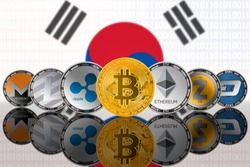 Popular cryptocurrency coins on the background of the flag of South Korea (ROK). Bitcoin (BTC), Litecoin (LTC), Ethereum (ETH), Monero (XMR), Zcash (ZEC), Ripple (XRP), Digitalcash (DASH)